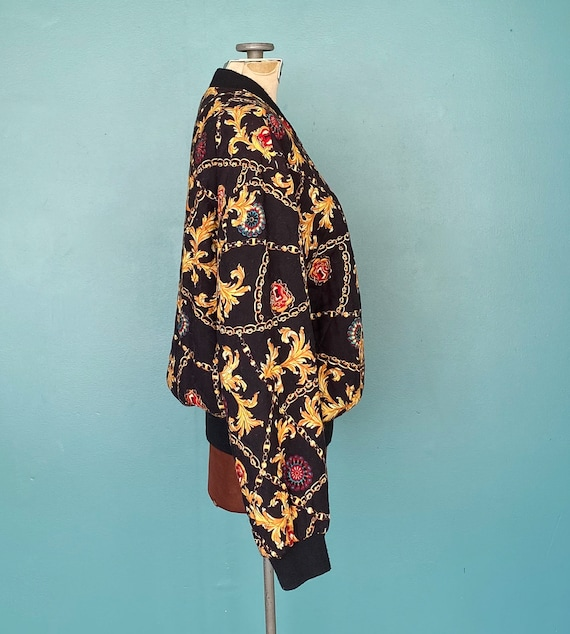 Black Baroque 80s Quilted Bomber Jacket Quilted J… - image 4