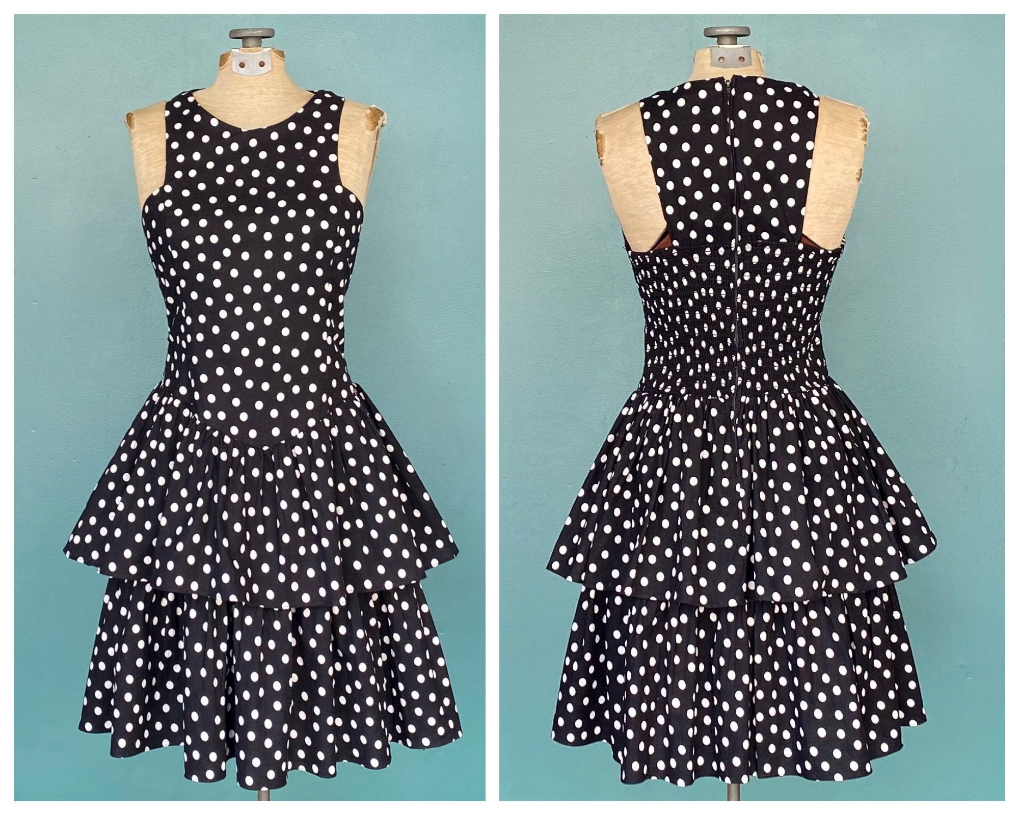 80s Dresses | Casual to Party Dresses Black Polka Dot 80S Cotton Sun Dress Vintage 1980S Sleeveless Day Taralynevansstudio $0.00 AT vintagedancer.com