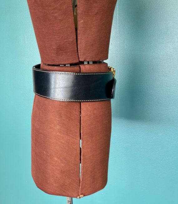 Wide Black Leather Belt 1980s Wide Belt, TaraLynE… - image 6