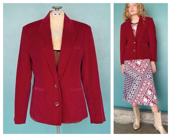 Red Velvet 80s Vintage Womens Blazer 80s Red Velv… - image 1