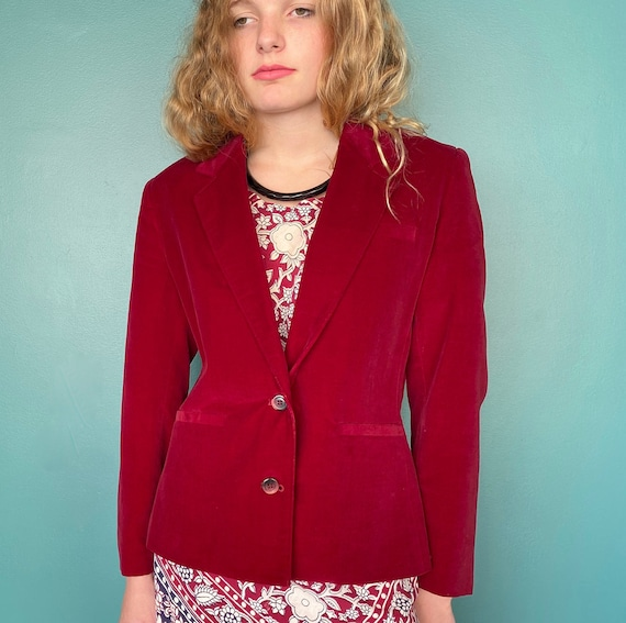 Red Velvet 80s Vintage Womens Blazer 80s Red Velv… - image 4