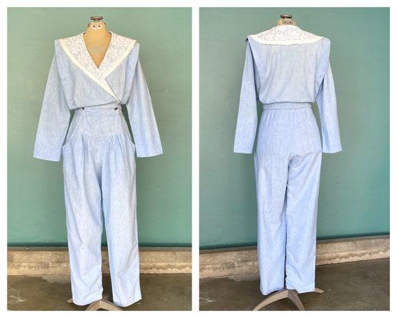 Denim Chambray 80s Lace Collar Jumpsuit Vintage Co