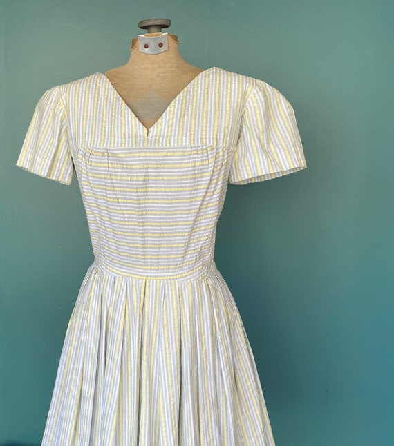 Seersucker 50s Rockabilly Spring Dress 50s Vintag… - image 4