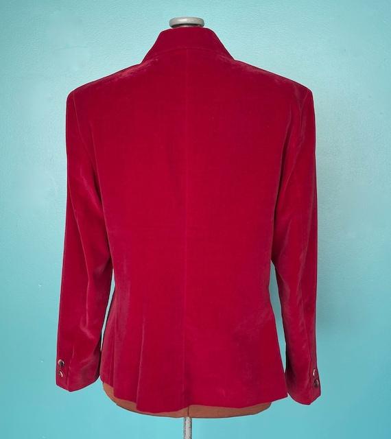 Red Velvet 80s Vintage Womens Blazer 80s Red Velv… - image 8