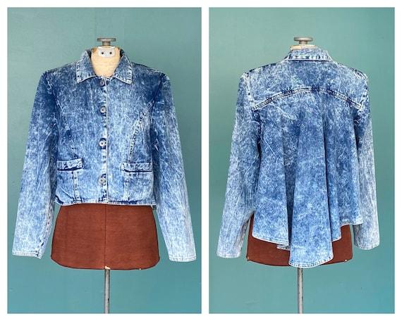 80s Acid Wash Womens Vintage Jean Jacket Denim 80s