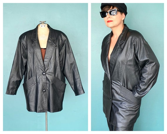 80s Black Leather Vintage Women Jacket 80s Vintage