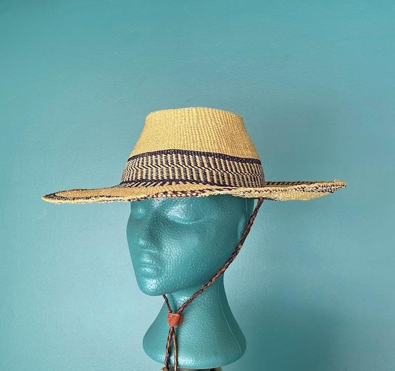 Wide Brim Straw Hat Vintage Straw Sun Hat, TaraLyn