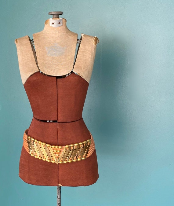 Jose Cotel Vintage 80s Wide Beaded Belt Statement… - image 3