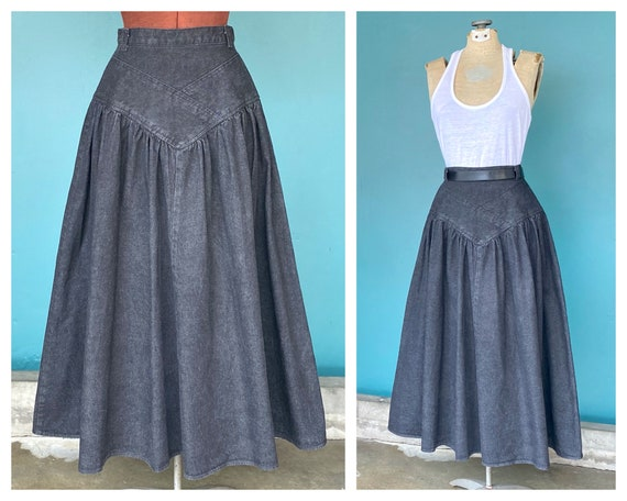 Maxi Denim Black Skirt 1980s Vintage Maxi Skirt, T