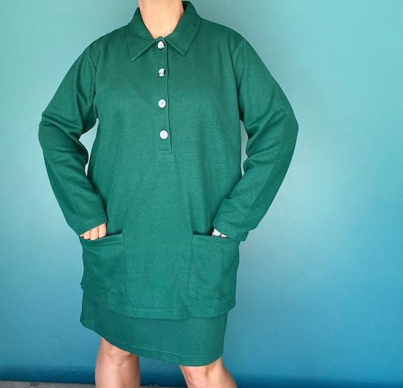 Green 80s Knit Dress 80s Vintage Shirt Dress, Tara