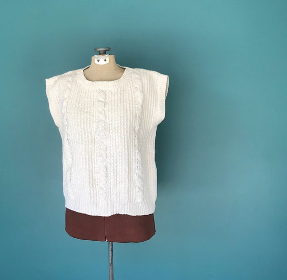 Linen Crochet Top Cable Knit Vintage Top, TaraLyn… - image 3