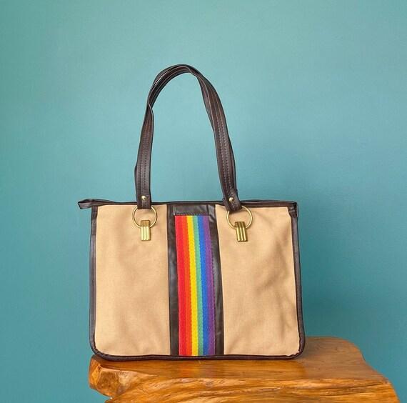 Rainbow Canvas Bag Rainbow Vegan Bag, TaraLynEvans