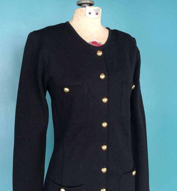 Black Wool 80s Sweater Shirt Dress 1980s Vintage … - image 4