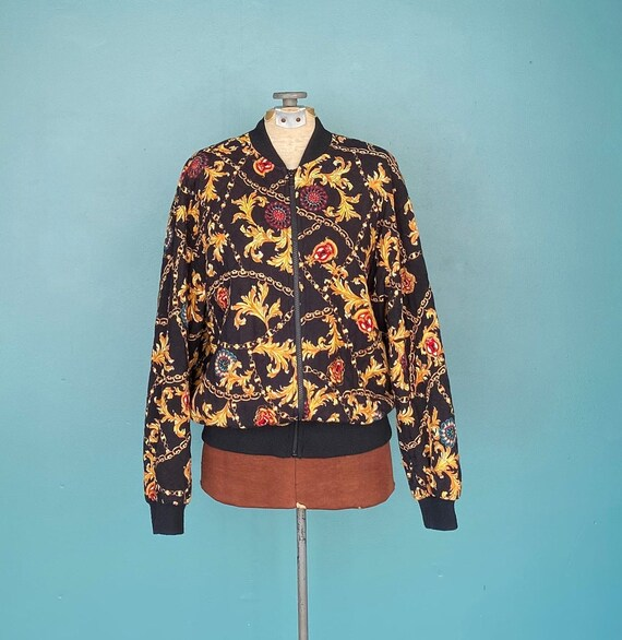 Black Baroque 80s Quilted Bomber Jacket Quilted J… - image 2