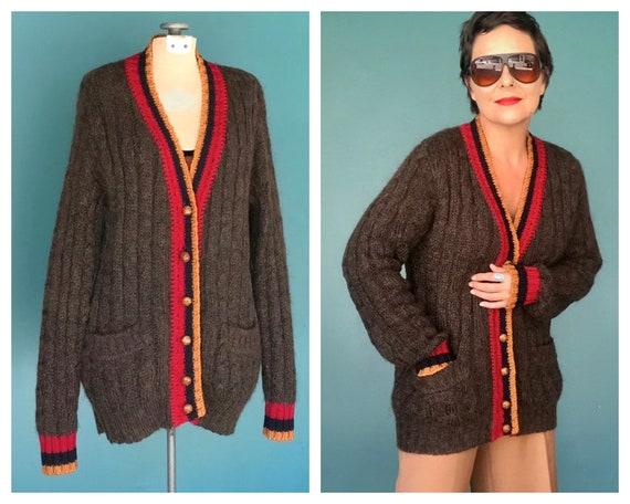 Mohair Cardigan 80s Varsity Preppy Sweater, TaraLy