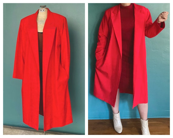 Duster Womens Duster Women Duster Coat Red Coat D… - image 1