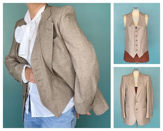 Vintage 80s Wool Women Blazer Vest 80s Wool Vintag