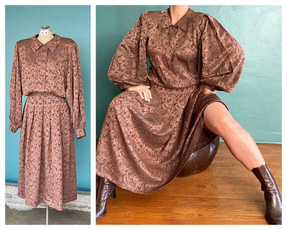 Puff Sleeve Vintage Silk 80s Maxi Dress Balloon Sl