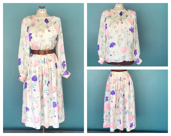 Floral Silk Midi Dress 80s Two Piece Set, 25 Waist