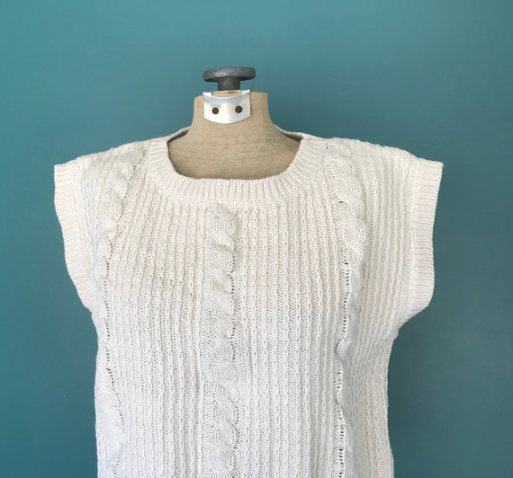 Linen Crochet Top Cable Knit Vintage Top, TaraLyn… - image 5