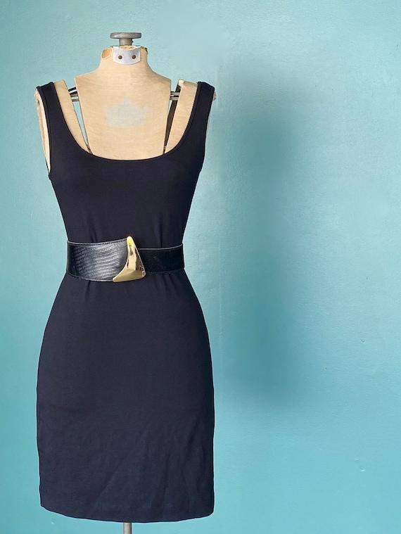 Wide Black Leather Vintage Womens Belt 80s Leathe… - image 8