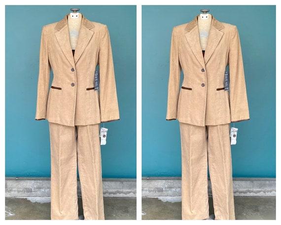 Corduroy Pant Suit Womens Vintage Suit, 28 Waist M
