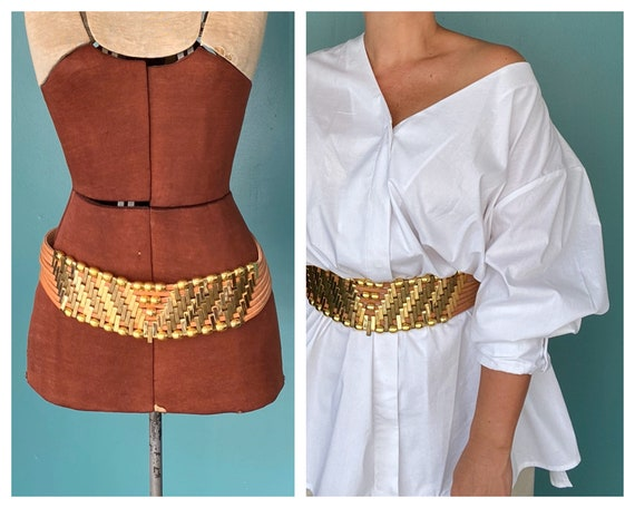 Jose Cotel Vintage 80s Wide Beaded Belt Statement