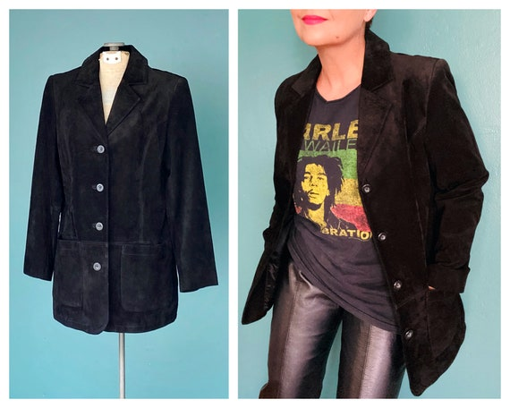 Black Leather 90s Suede Vintage Jacket Black Minim