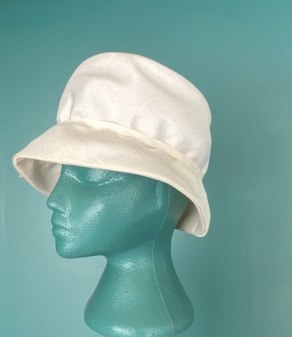 White Vintage 60s Womens Bucket Hat Women Wide Br… - image 3