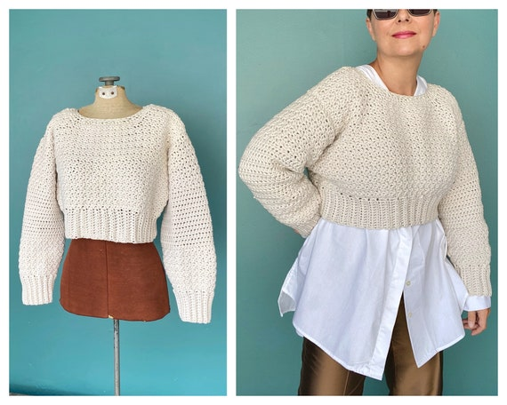 Crochet Chunky Cropped Vintage Sweater Hand Knit C