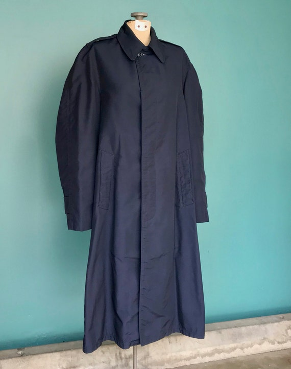 Vintage Trench Coat Navy Military Trench Coat Nau… - image 4