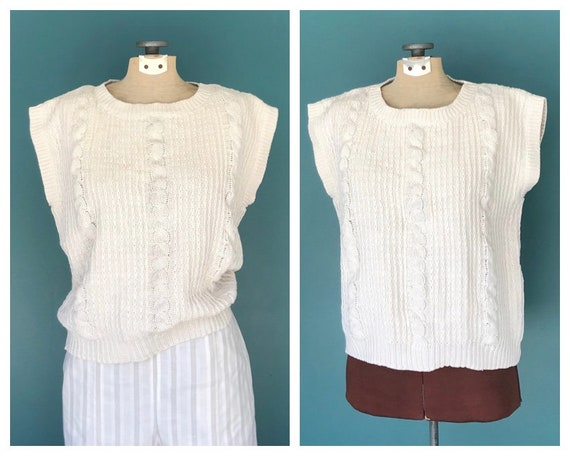 Linen Crochet Top Cable Knit Vintage Top, TaraLyn… - image 1