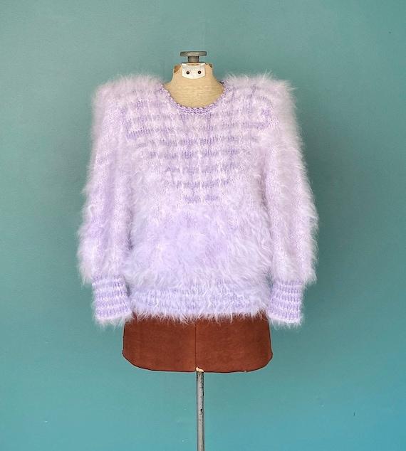 Lavender Angora 80s Vintage Sweater Purple Angora
