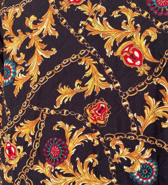 Black Baroque 80s Quilted Bomber Jacket Quilted J… - image 7