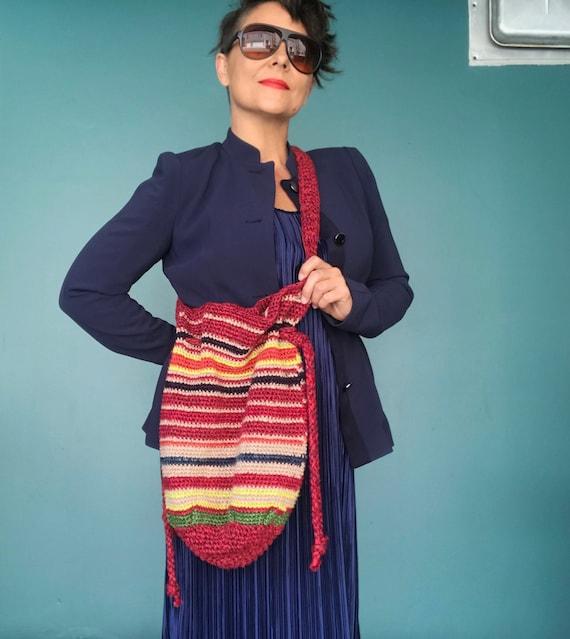 Crochet Drawstring Bag Crochet Hobo Bag, TaraLynEv
