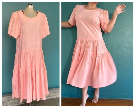Maxi Peach Puff Sleeve 80s Vintage Dress Loose Sum