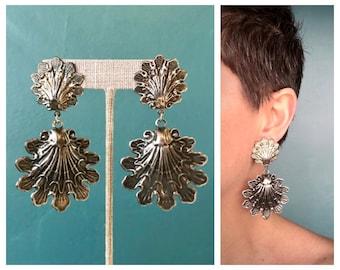 80s Oversized Filigree Earrings, Big Long Earrings, Extra Large Earrings, Long Drop Earrings, Metal Earrings, Silver Earrings