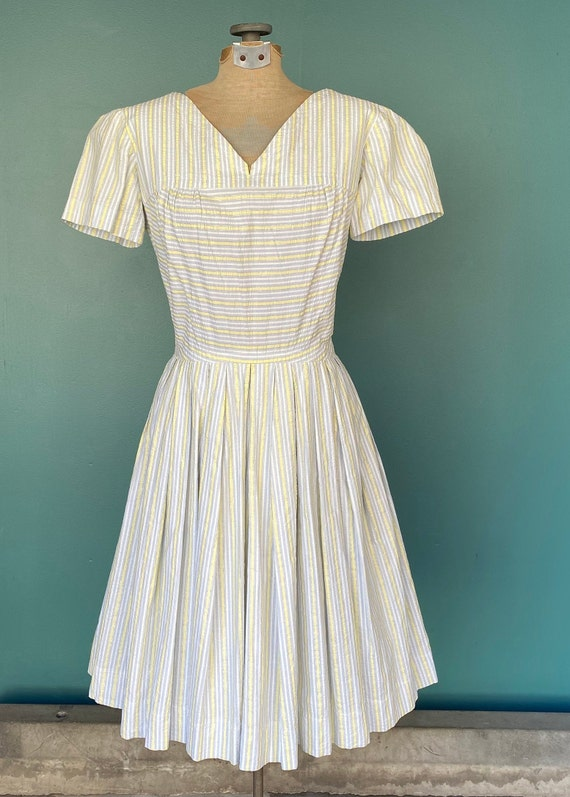 Seersucker 50s Rockabilly Spring Dress 50s Vintag… - image 3