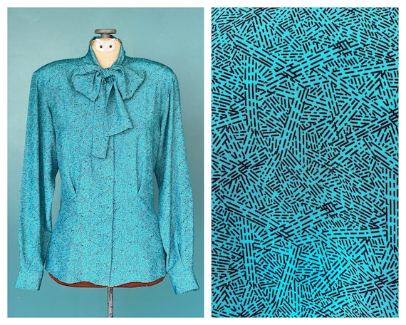 Turquoise Pussy Bow 80s High Neck Blouse Abstract