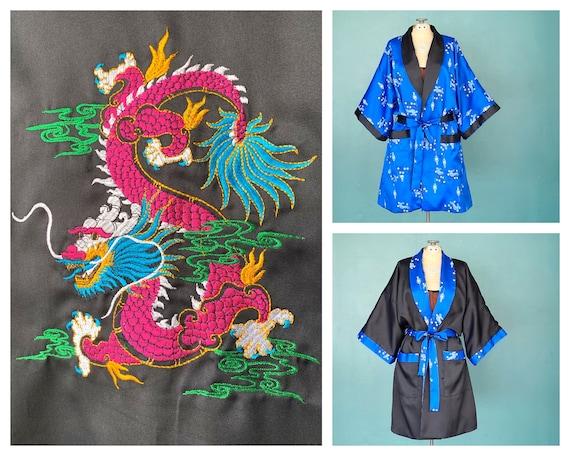 Satin Embroidered Black Kimono Robe Vintage Blue S