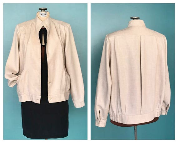 80s Vintage Linen Bomber Jacket 80s Linen Womens B