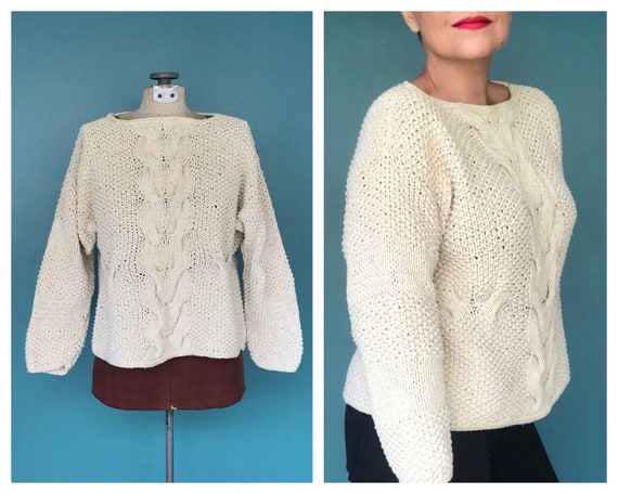 Cable Knit Crochet Vintage Cream Sweater Cable Kni