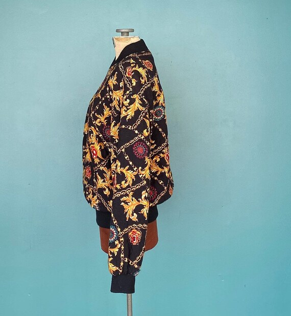 Black Baroque 80s Quilted Bomber Jacket Quilted J… - image 5