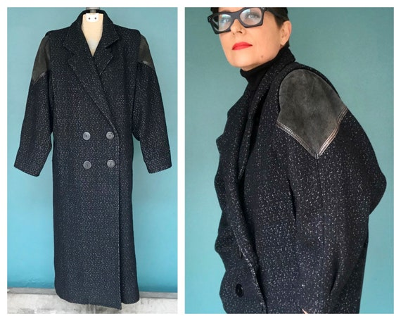 Wool Maxi Coat 80s Long Black Coat, TaraLynEvansSt