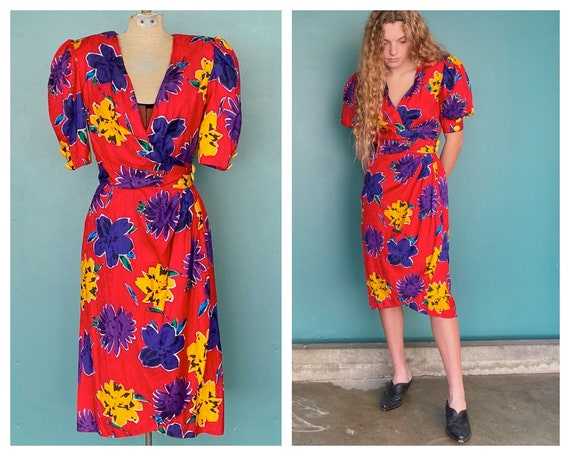 80s Floral Wrap Dress Red 1980s Vintage Dress Shor