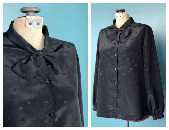 Black Satin Secretary Blouse Vintage Blouse, TaraL