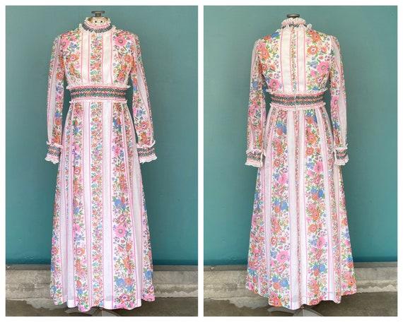 Prairie 70s Floral Cottagecore Folk Dress Vintage