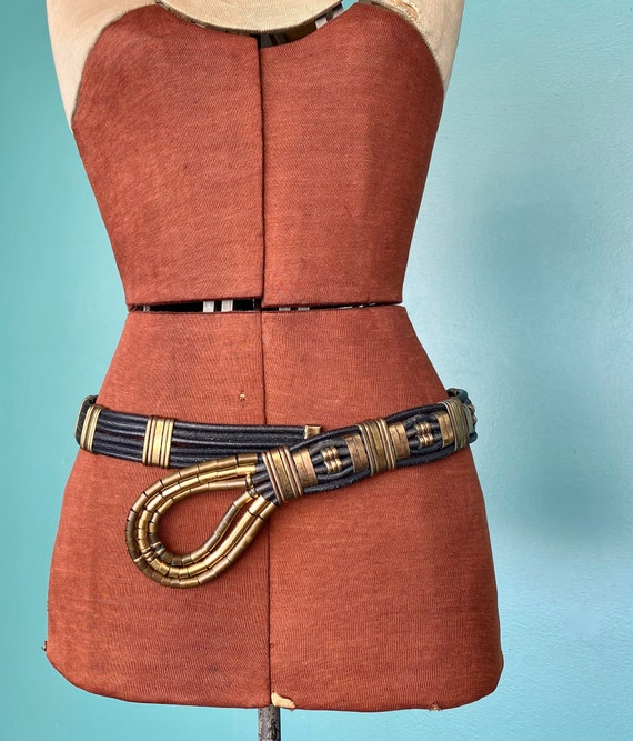 Wide Leather Womens Black Rope Belt 80s Wide Leat… - image 2