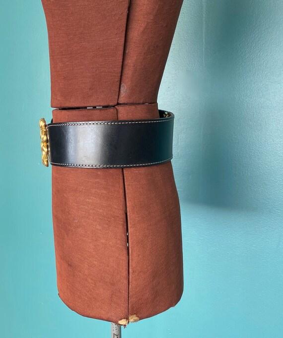 Wide Black Leather Belt 1980s Wide Belt, TaraLynE… - image 7