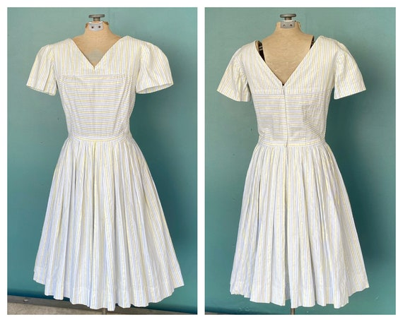 Seersucker 50s Rockabilly Spring Dress 50s Vintag… - image 1